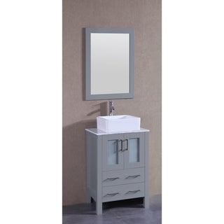 Bosconi 24-inch Single Vanity Cabinet with White Glass Top