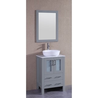 Bosconi 24-inch Single Vanity Cabinet with White Marble Counter top, Mirror, and Faucet