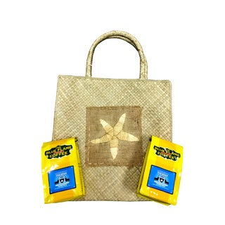 Woven Star Fish Pandan Tote Bag FREE 2 packs of med-roast coffee