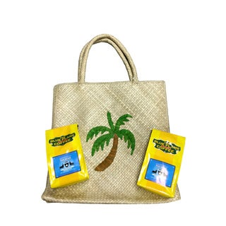 Woven Palm Pandan Tote Bag FREE 2 packs of med-roast coffee