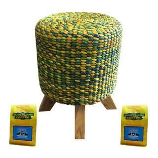 Yellow Green Woven Stool FREE 2 packs of med-roast coffee
