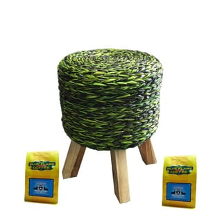Green Woven Stool FREE 2 packs of med-roast coffee