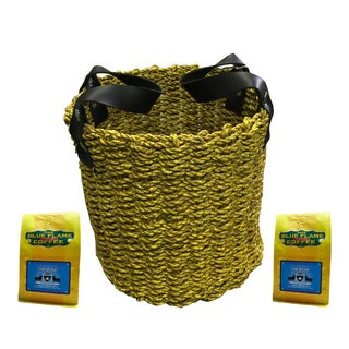 Yellow Seagrass Woven Basket FREE 2 packs of med-roast coffee