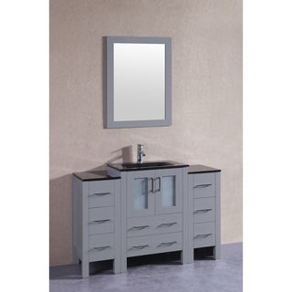 Bosconi 48-inch Grey Single Vanity Set with Black Tempered Glass Tops