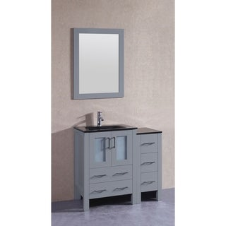 Bosconi 36-inch Single Vanity Cabinet with Bi-level Black Glass Tops