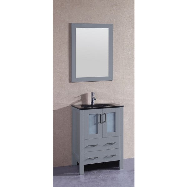 Bosconi 24-inch Single Vanity Cabinet with Black Glass Top, Mirrors, and Faucets