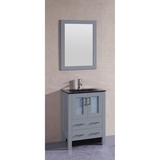 Bosconi 24-inch Single Vanity Cabinet with Black Glass Top