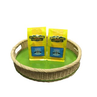 Round Rattan Tray FREE 2 packs of med-roast coffee