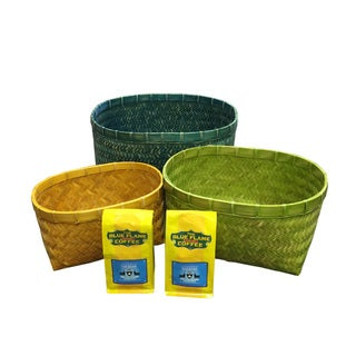Bamboo Oval Baskets (set of 3 pcs: L, M, S) FREE 2 packs of med-roast coffee