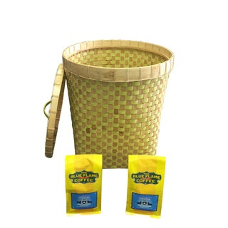 Round Bamboo Basket with Lid FREE 2 packs of med-roast coffee