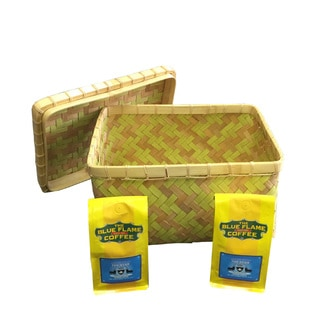 Rectangular Bamboo Basket with Lid FREE 2 packs of med-roast coffee