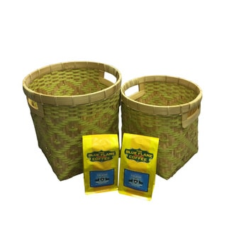 Woven Bamboo & Strapping Band Baskets (Set of 2 pcs) FREE 2 packs of med-roast coffee