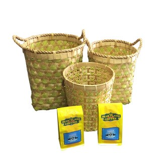Handmade Bamboo & Strapping Band Woven Baskets (Set of 3 pcs: L, M, S) FREE 2 packs of med-roast coffee (Indonesia)