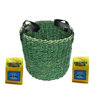 Green Seagrass Woven Basket FREE 2 packs of med-roast coffee