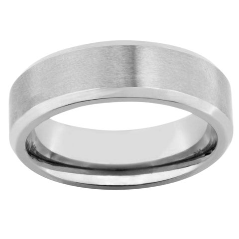 Men's Satin Finished Titanium Band - Silver