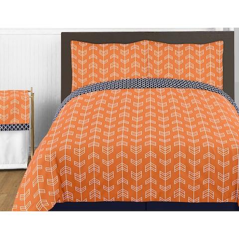 Sweet Jojo Designs Orange and Navy Blue Arrow Full/Queen 3-piece Comforter Set