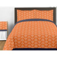 Sweet Jojo Designs Orange and Navy Blue Arrow Full/Queen 3-piece Comforter Set