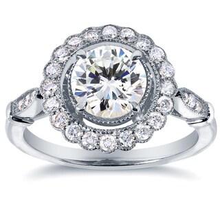 Annello by Kobelli 14k White Gold IGI Certified 1 1/3ct Diamond Eco-Friendly Lab Grown Diamond Floral Engagement Ring