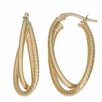 Fremada Italian 14k Yellow Gold Double Oval Hoop Earrings