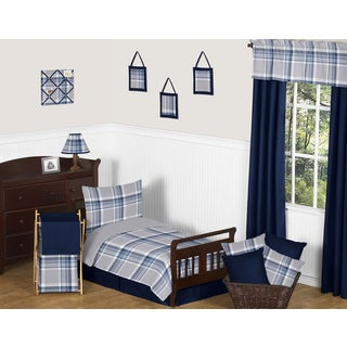 Sweet Jojo Designs Navy Blue and Grey Plaid Toddler 5-piece Comforter Set