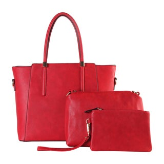 Diophy Faux Leather Large 3-piece Tote Bag Set