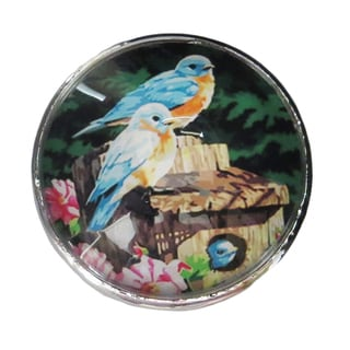 Blue Birds Glass Knob with Metal Base for Drawers and Doors (Pack of 6)