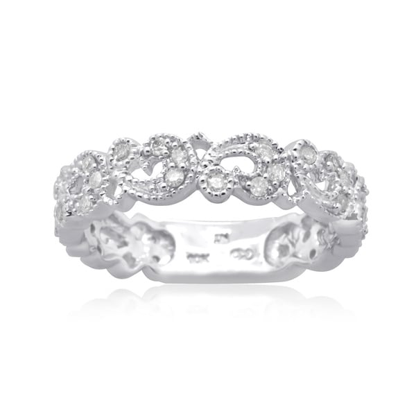 10K White Gold 1/3 CT TDW Round Diamond Filigree Band Ring