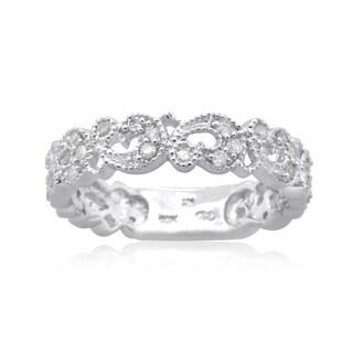 10K White Gold 1/3 CT TDW Round Diamond Filigree Band Ring