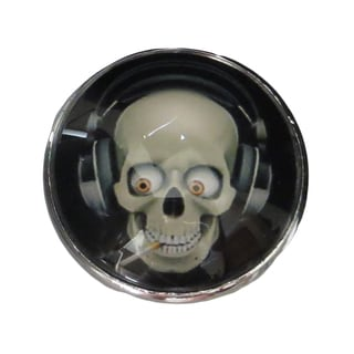 Smoking Skull Glass Knob with Metal Base for Drawers/Doors Knob Pulls (Pack of 6)