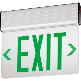 Lithonia Lighting EDG 2 GMR EL M6 Green On Mirror Stencil Edge Lit LED Exit Sign