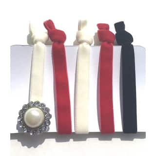 Be the Envy Boutique Holiday 5 Piece Gem Velvet Ponytail HairTies|https://ak1.ostkcdn.com/images/products/13003668/P19748005.jpg?impolicy=medium