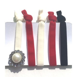 Be the Envy Boutique Holiday 5 Piece Gem Velvet Ponytail HairTies
