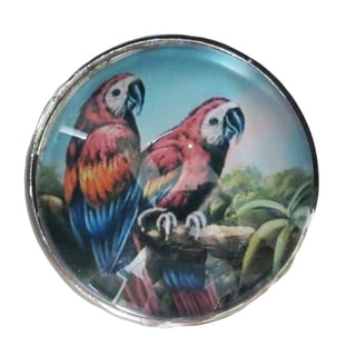 Red Birds Chrome Glass and Metal Knob Pulls (Pack of 6)