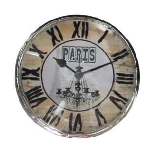 Paris Clock Clear Glass and Chrome Metal Drawer Pulls (Pack of 6)