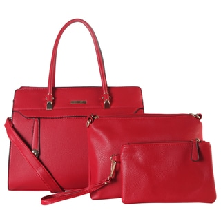 Diophy Faux-lleather Front-zippered Pocket Large Structured 3-piece Tote Bag Set