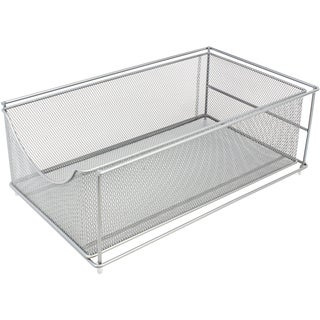 Sorbus Mesh Cabinet Organizer Drawer with Cover, Stackable - Silver