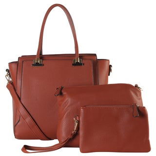 Diophy Faux Leather Front Pocket Large Structured 3-piece Tote Bag Set