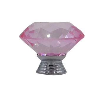 Pink Crystal Glass Diamond-shape 1.5-inch Drawer, Door, Cabinet Knob Pulls (Pack of 6)