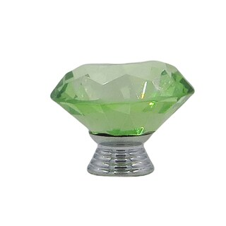Green Crystal Glass Diamond Shape 1.5-inch, 40-millimeter Drawer, Door, Cabinet, or Dresser Knob Pulls (Pack of 6)
