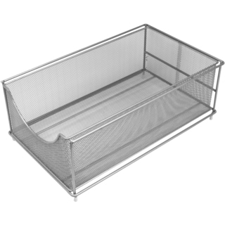 Sorbus Mesh Cabinet Organizer  Pull Out Drawers, Silver (Top)