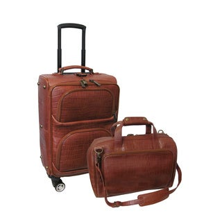 Amerileather Brown Leather Croco-Print 2-piece Spinner Luggage Set