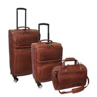 Amerileather Brown Leather Croco-Print 3-piece Spinner Luggage Set