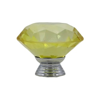 Yellow Crystal Glass Diamond Shape 40mm Drawer, Door, Cabinet or Dresser Knob Pulls (Pack of 6)