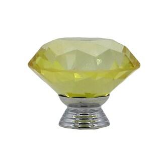 Yellow Crystal Glass Diamond Shape 40mm Drawer, Door, Cabinet or Dresser Knob Pulls (Pack of 6)