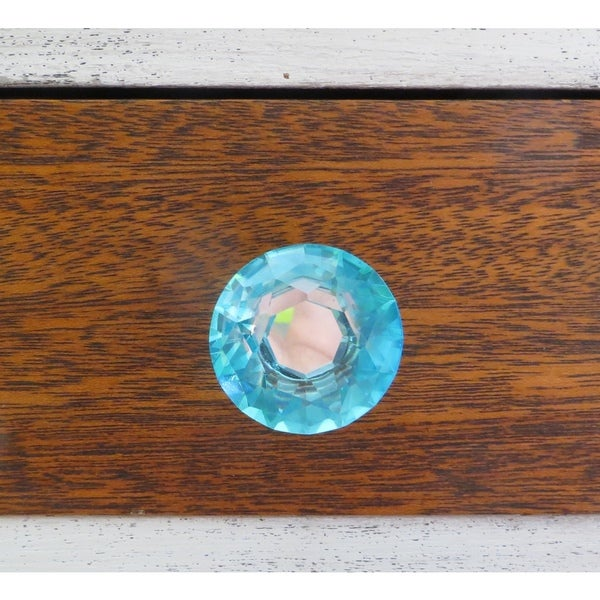 blue crystal glass and metal 15inch 40 millimeter drawer door cabinet or dresser knob pulls pack of 6 free shipping on orders over