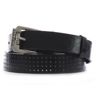 Dinamit Men's Black/Silver Leather Belt
