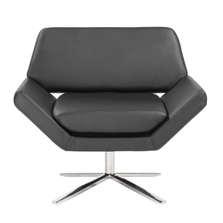 Carlotta Lounge Chair in Black with Brushed Stainless Steel