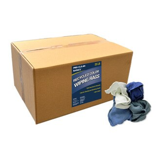 Pro-Clean Basics 25 lbs. Box of Assorted Colors Recycled Woven Cotton Cleaning Rags