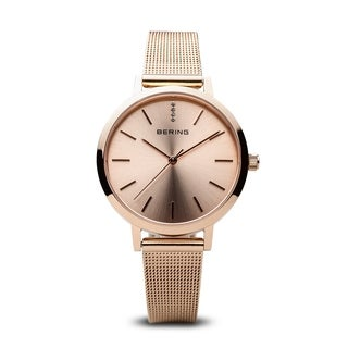 Bering Women's 13434-366 Classic Rose Gold Tone Stainless Steel Mesh Watch