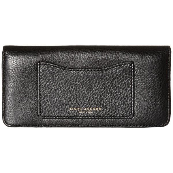 2155c7e507b Shop Marc Jacobs Recruit Black Leather Open-face Clutch Wallet ...